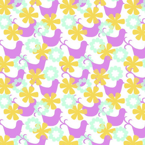 Birds And Flowers Mauve colourway