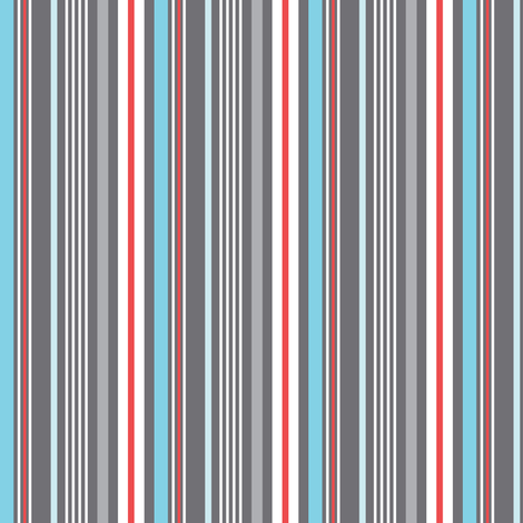 Kitchen Stripe - Grey Red Blue fabric by heatherdutton on Spoonflower - custom fabric