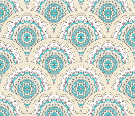 Sun Soaking, Doily, Blue fabric by natalie on Spoonflower - custom fabric