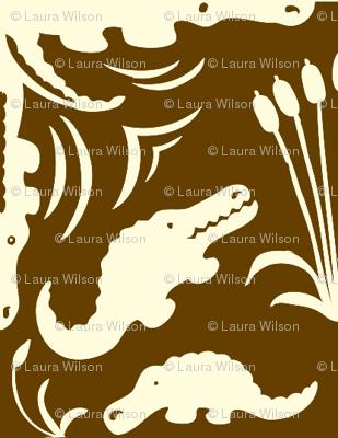 Crocodile Damask Mud