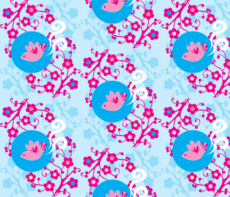 Pink Little Birdie fabric by malien00 on Spoonflower - custom fabric