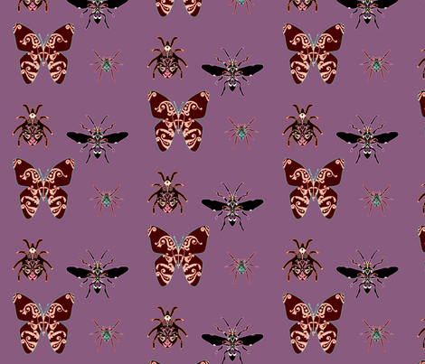 patterned_bugs_purple fabric by snork on Spoonflower - custom fabric