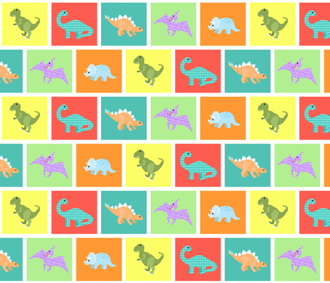 dinos squared fabric by mytinystar on Spoonflower - custom fabric