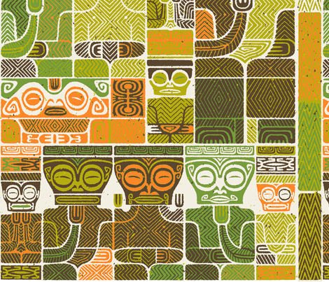 Tikis 1e fabric by muhlenkott on Spoonflower - custom fabric