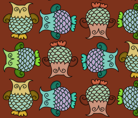 Topsy-Turvy Owls fabric by cherie on Spoonflower - custom fabric