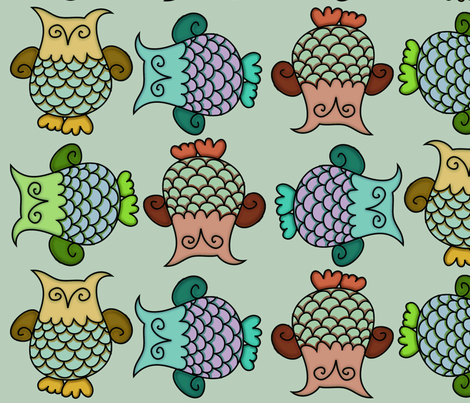 Topsy-Turvy Owls Sage fabric by cherie on Spoonflower - custom fabric