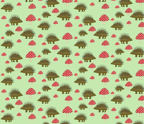 hedgehog fabric by rose'n'thorn on Spoonflower - custom fabric
