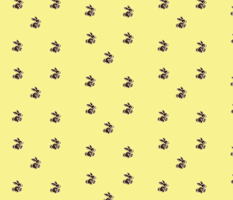 rabbits_yellow fabric by snork on Spoonflower - custom fabric
