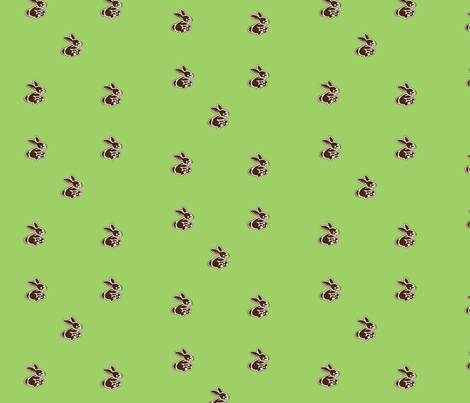 rabbits_green fabric by snork on Spoonflower - custom fabric