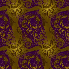 Baroque Curlicue in Gold and Purple 2