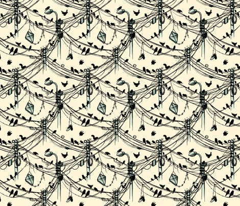 birds and cables fabric by raul on Spoonflower - custom fabric