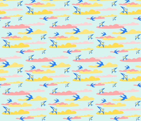 clouds fabric by rose'n'thorn on Spoonflower - custom fabric