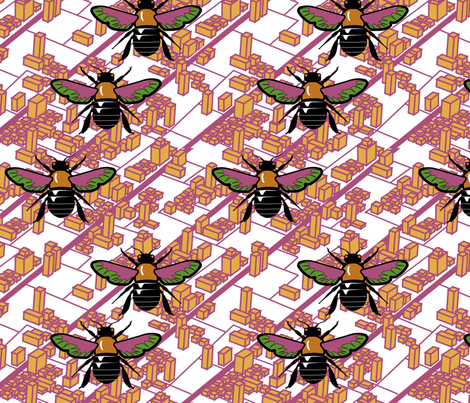 bee skyline fabric by thirdhalfstudios on Spoonflower - custom fabric