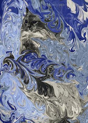liquid kitty feather blue