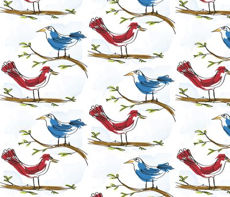 Silly Birds! fabric by backyarddesigner on Spoonflower - custom fabric