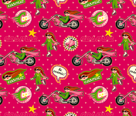 Cosmicgirl on pink fabric by hamburgerliebe on Spoonflower - custom fabric