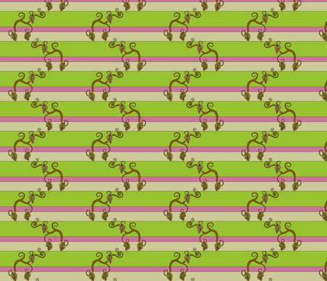 Vines with Raspberry Stripe fabric by pantsmonkey on Spoonflower - custom fabric