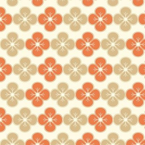 red and beige flowers