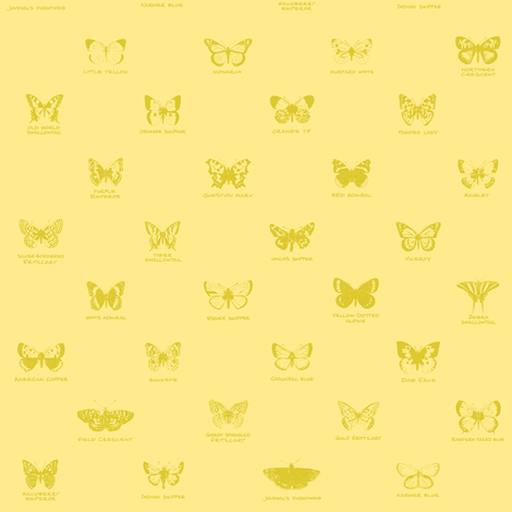 butterfly alphabet - pale gold fabric by weavingmajor on Spoonflower - custom fabric