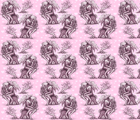 Cthulhu in Love (Pink) fabric by jenithea on Spoonflower - custom fabric