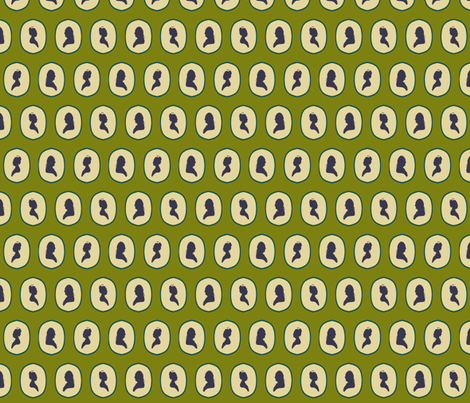 Cameo Appearance, Green fabric by n8designs on Spoonflower - custom fabric