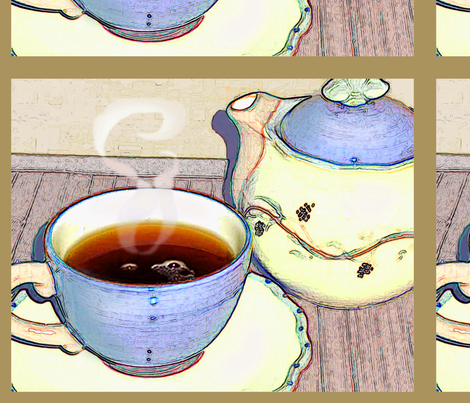 Tea For One fabric by cricketnoel on Spoonflower - custom fabric