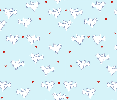 Doves and Hearts fabric by katharinahirsch on Spoonflower - custom fabric