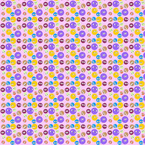 Dots With Eyes Pink BG