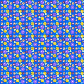 Polka Dots with eyes blue bg