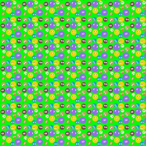 Polka Dots with eyes green bg