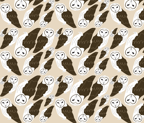 Barn Owl fabric by malien00 on Spoonflower - custom fabric