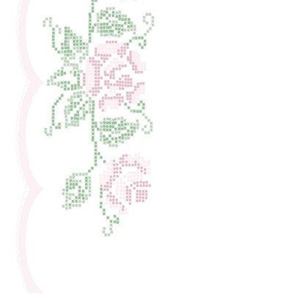 Cross Stitch Rose Border Print