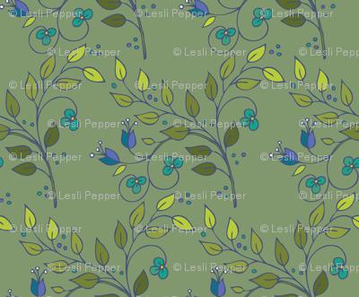 Floral Lattice-khaki