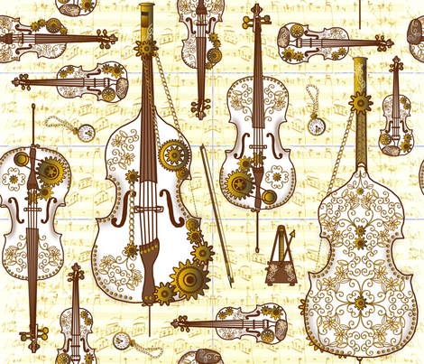 Steam Strings Gold fabric by jasmo on Spoonflower - custom fabric