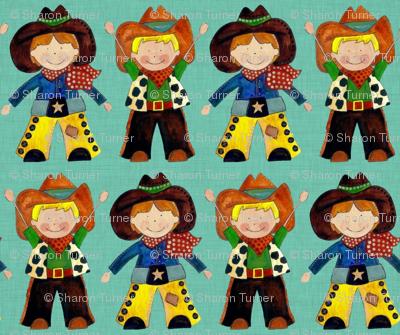 little cowboys turquoise linen