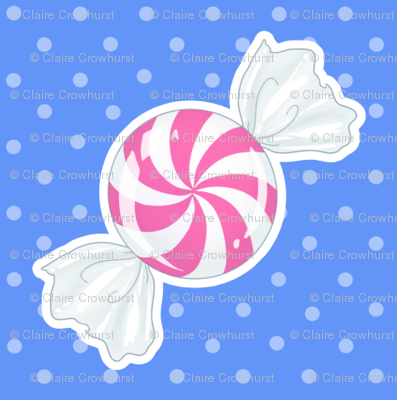 Pink Peppermint on Blue
