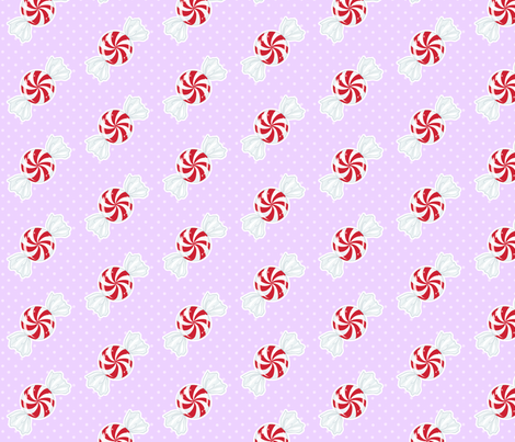Red Peppermint on Lavender fabric by tenderlovingclaire on Spoonflower - custom fabric