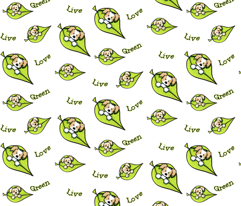 Live Green Love Puppies fabric by kiniart on Spoonflower - custom fabric