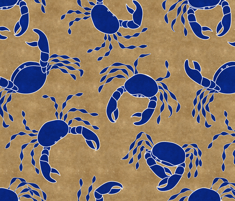 Navy Crabs fabric by vo_aka_virginiao on Spoonflower - custom fabric