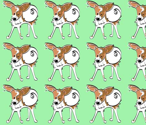 single_finn_green_bkgrd fabric by mackerilla on Spoonflower - custom fabric