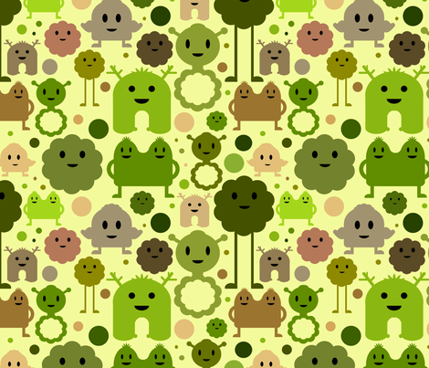 Monsters On the Loose - Olive fabric by jesseesuem on Spoonflower - custom fabric