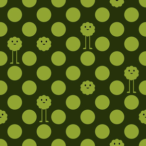 Monster Polka Dots - Olive - Large