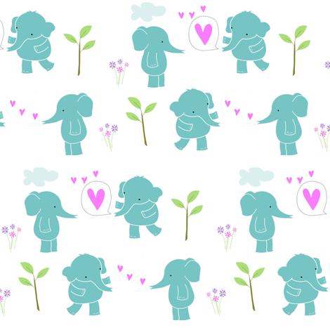 Sweetheart Elephants -ed fabric by zoel on Spoonflower - custom fabric