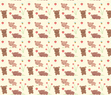 Bears Bees and Strawberries fabric by zoel on Spoonflower - custom fabric