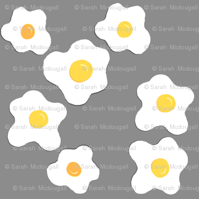 Sunny Side Up Egg Fabric- Gray Colorway