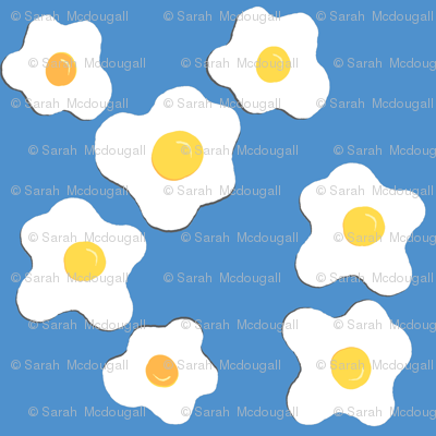 Sunny Side Up Egg Fabric- Blue Colorway