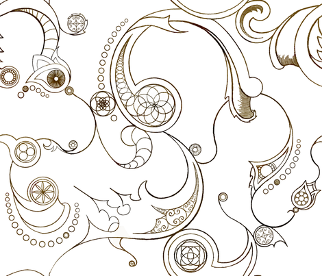 Steampunk Swirls fabric by redpumpkinstudio on Spoonflower - custom fabric