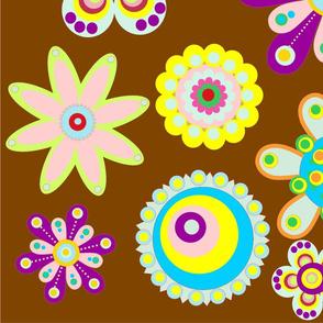 retrospective flowers dark brown