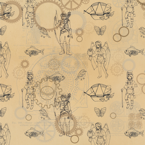 steampunk_sketches fabric by mytinystar on Spoonflower - custom fabric