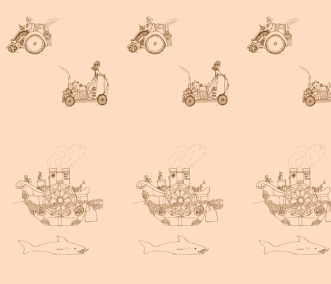 vll_steampunk_transportation_toile_4-ch-ch fabric by victorialasher on Spoonflower - custom fabric
